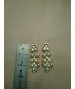 VINTAGE CLIP POLISHED GOLD RHINESTONE CLUSTER CHANDELIER EARRINGS - $45.00