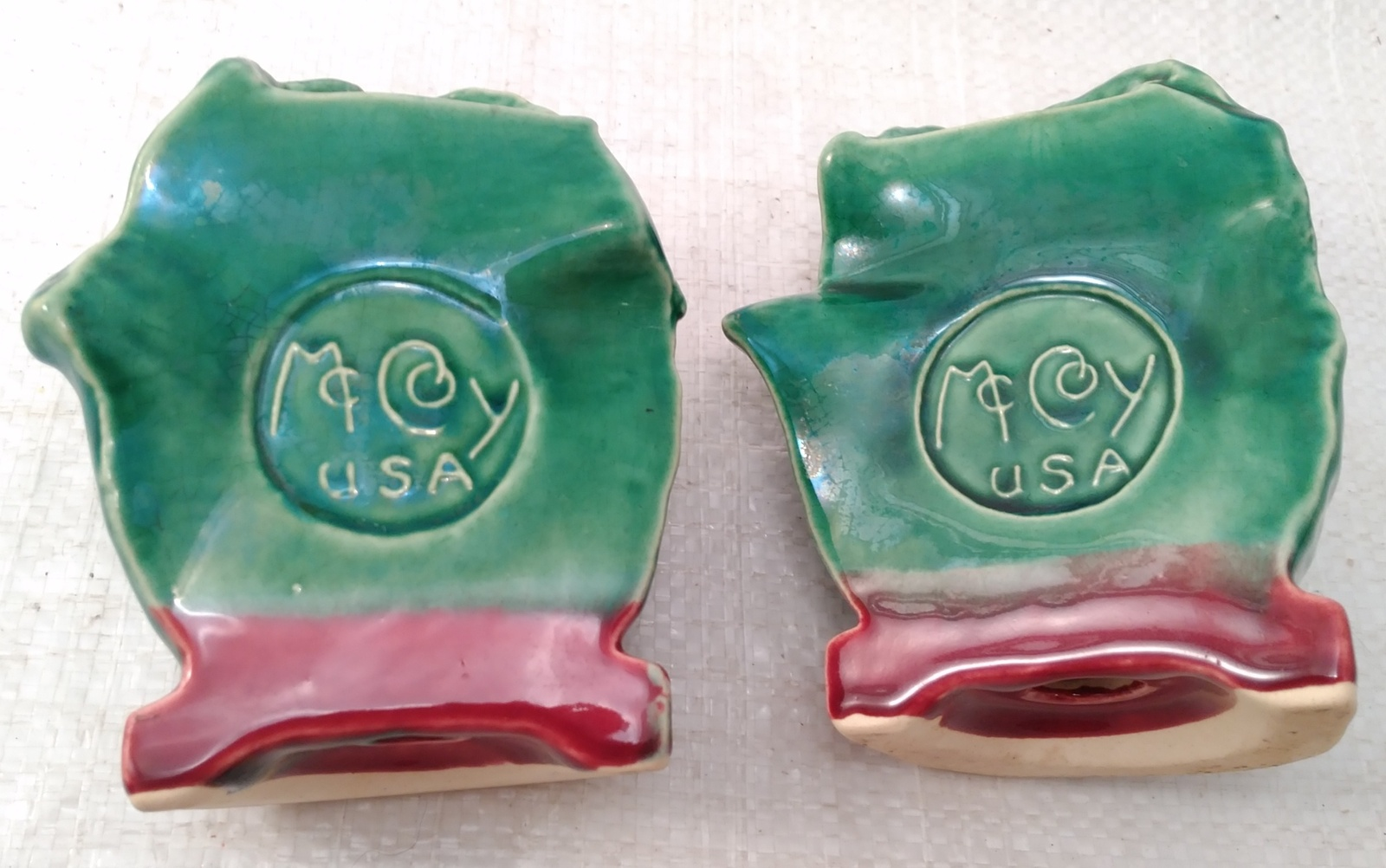 McCoy Majolica Cabbage Salt and Pepper Shakers