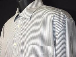 Joseph Abboud Mens Slim Fit White Back Stripe Button Front Shirt 17.5  3... - $12.11 CAD