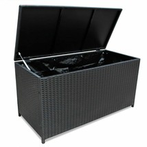 vidaXL Outdoor Storage Box Poly Rattan Black Entryway Chest Bench Organizer image 2