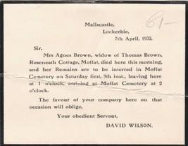 David Wilson 1932 Death of Agnes Brown Moffat Cemetery Invite Death Card... - $7.55