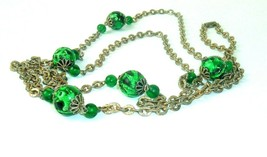 "Vintage Necklace Coro Long Green Foiled Art Glass Beads 58""   - $29.69"