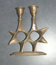 Judaica Shabbat Candlesticks Candle Holder Magen David Vintage Israel 1960's image 3