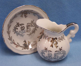 LEFTON CHINA CREAMER AND SAUCER 25TH ANNIVESARY SILVER - $13.85