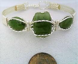 Jade Silver Wire Wrap Bracelet Sz. 6.5  - $31.97