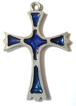 LARGE CROSS EPOXY FINE PEWTER PENDANT Approx. 2 1/2 inches tall image 2