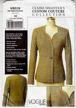 Vogue Couture Jacket Shaped Front Claire Shaeffers Sew Pattern 8519 Size... - $19.79