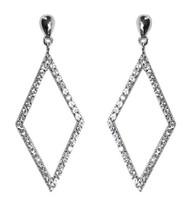 Glitzy Pave Diamon Shape Clear Cz Dangle Earring -BRIDAL - $29.69