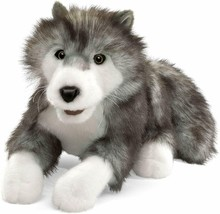 """Folkmanis Timber Wolf Hand Puppet 18""""  Plush Movable Mouth #2171 NWOT - $18.76"""