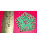 Home Treasure Linen Table Decor Tiny Green Star Circle Doily Circular Do... - $6.64
