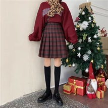 Lady Classic Wine Red Plaid Skirt Plus Size Pleated Plaid Skirt Christmas Outfit image 2