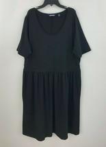 Lands End 1X Flare Dress Womens Plus Black Pockets Short Sleeve NWOT B40-14 - $33.84