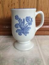 Pfaltzgraff Yorktowne Mug with Footed Base Blue Floral Motif Gray Mug - $18.69