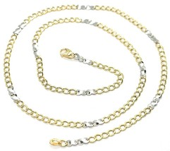 18K YELLOW WHITE GOLD CHAIN 3 MM, 19.7 INCHES, ALTERNATE GOURMETTE AND INFINITE image 1