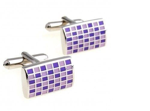 Frederick Thomas purple and pink check rectangular cufflinks FT2829