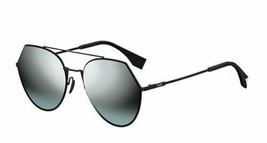 FENDI FF 0194/S 0807/GO Black Grey Azure Silver Mirror Aviator Sunglasses  - $214.12