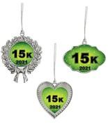 15K Race Running Christmas 2021 Silver Ornament Gift Frame Heart or Wreath - $14.99