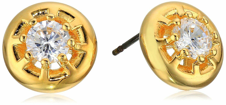 Nuevo nOir Chapado en Oro Eliza Circonita Cúbica Perno Cristal Pendientes Nwt