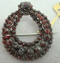 Genuine Natural Bohemian Garnet Wreath Pin (#2092) - $252.23