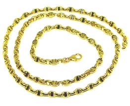 """18K YELLOW GOLD CHAIN SAILOR'S NAUTICAL NAVY MARINER BIG OVAL 4mm LINK 60cm 24"""" image 1"""