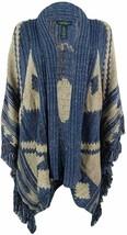 LRL Lauren Jeans Co. Womens Wool Blend Southwestern Print Poncho Sweater... - $102.84