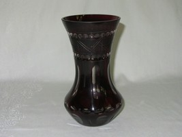 Cut to Clear Ruby Cranberry Glass Vase Vintage Dots Circles Crosshatch - $25.24