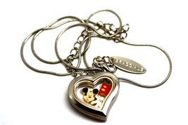 Bracciale Heart Disney Locket Mickey Mouse Hand Silver Necklace Floating Charms - $24.74