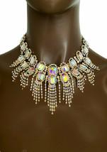Statement Bib Halskette Fransen Halskette Set Polarlicht Strass Kostüm Schmuck - $27.83