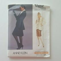 Vogue 1975 American Designer Anne Klein Jacket Skirt Sewing Pattern Size... - $19.79