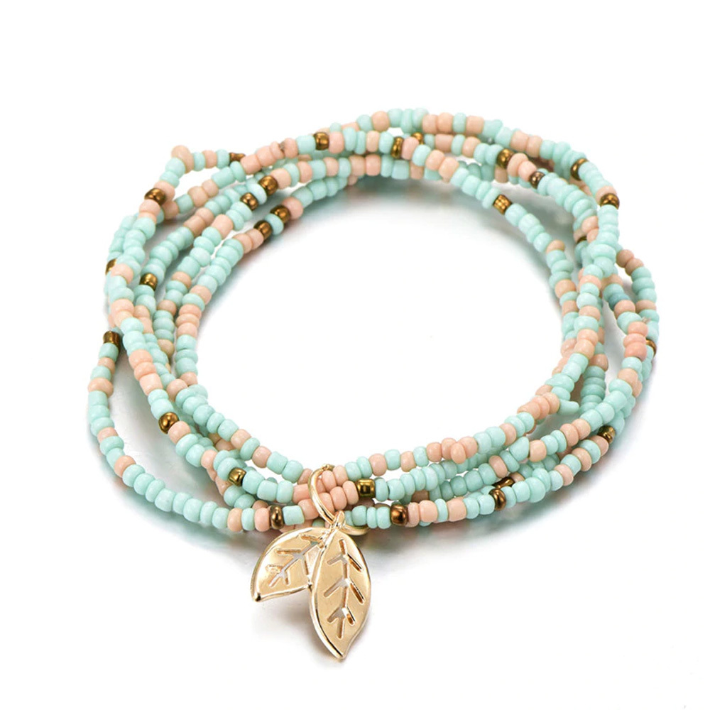 Bohemian Style Tree Of Life Pastel Charm Beads Bracelet Birthday Gift For Women