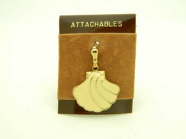 GEM-CRAFT Attachables 1980s Beige Enamel Gold Tone Seashell Pendant NOS - $19.79