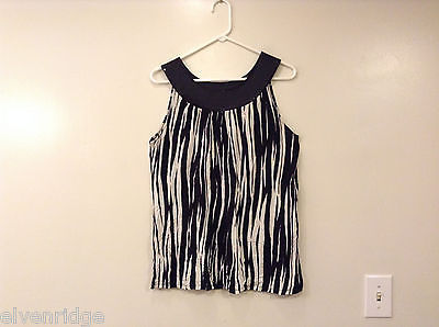 Express Women's Size L Sleeveless Top Black White Zebra Stripe Print w/ Sequins