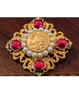 Vintage 1970s Goldtone, Pearl, Red Stones Cameo Style Brooch Pin - $8.88