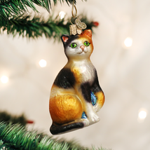 OLD WORLD CHRISTMAS CALICO CAT GLASS CHRISTMAS ORNAMENT 12399 - $11.88