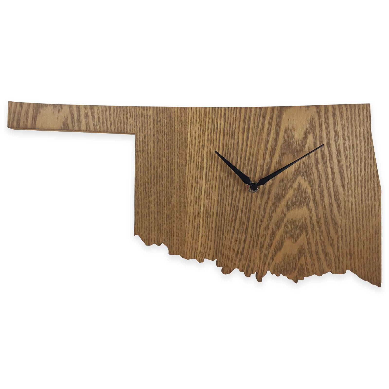 Oklahoma State Shaped Wood Grain Wall Clock Collection