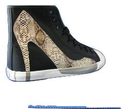Women FAshion Design Sneaker Big City Black Canvas - Roccia by BE&D Maison Dumai - $49.99