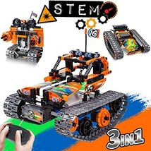 3-in-1 STEM Remote Control Building Kits-Tracked Car/Robot/Tank, 2.4Ghz Recharge