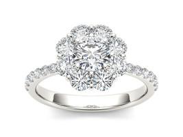IGI Certified 14k White Gold 1.75 Ct Diamond Flower Shape Halo Engagemen... - $1,859.99