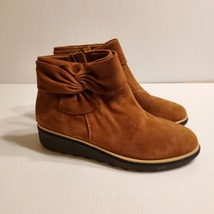 Clarks Collection Women's Sharon Salon Ankle Boots with Bow Dark Tan Sue... - $59.00