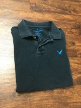 AMERICAN EAGLE Classic Fit V-Neck Short Sleeve Black Polo Shirt Men's Si... - $16.40