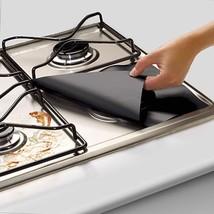 4Pcs/set Black Reusable Foil Gas Hob Range Stovetop Burner Protector Co... - $8.99