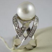 AMAZING SOLID 18K WHITE GOLD RING DIAMOND AND AUSTRALIAN PEARL DIAMETER 1.2 CM image 3