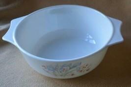 Vintage Pyrex Bowl Casserole Baking Mixing Dish Blue Iris England Floral - $8.68
