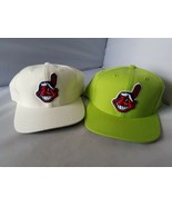 Cleveland Indians Snapback Hat Caps Pair of 2 MLB Genuine Authentic - $36.22