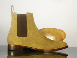 Handmade Men's Beige Suede High Ankle Chelsea Style Boots image 1