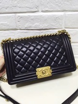 AUTHENTIC CHANEL 2017 Black Lambskin Quilted Medium Boy Flap Bag GHW image 2