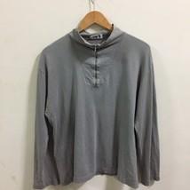 Agnes B Paris long sleeve stripe Grey Zip Up Pull Over  colour t shirt L - $29.69