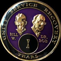 10 Year AA Founders Purple Tri-Plate Medallion Bill & Bob Sobriety Chip Ten - $19.98