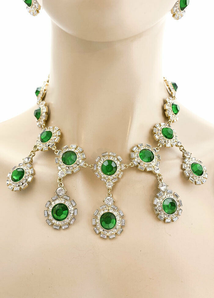 Primary image for Designer Look Evening Necklace Earrings Green Acrylic Rhinestone Pageant Bridal