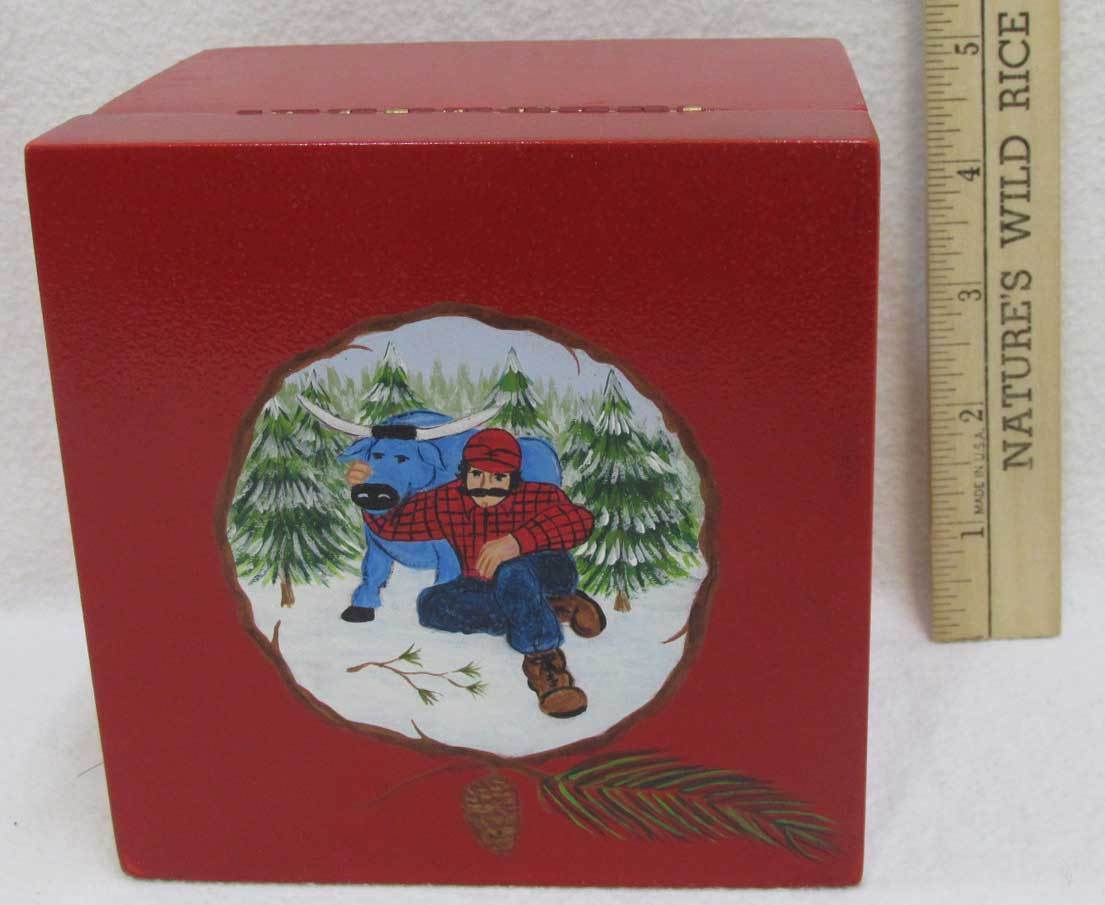 Paul Bunyan & Babe Blue Ox Wooden Trinket Box Storage w/Hand Painted Image Red